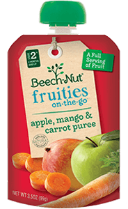 apple, mango & carrot fruities on-the-go pouch