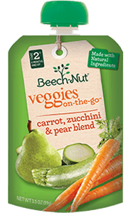 carrot, zucchini & pear veggies on-the-go pouch