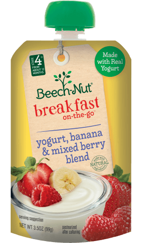 yogurt, banana & mixed berry blend breakfast on-the-go pouch