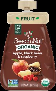 organic apple, black bean & raspberry pouch