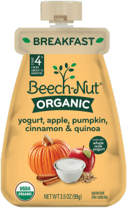 organic yogurt, apple, pumpkin, cinnamon & quinoa pouch