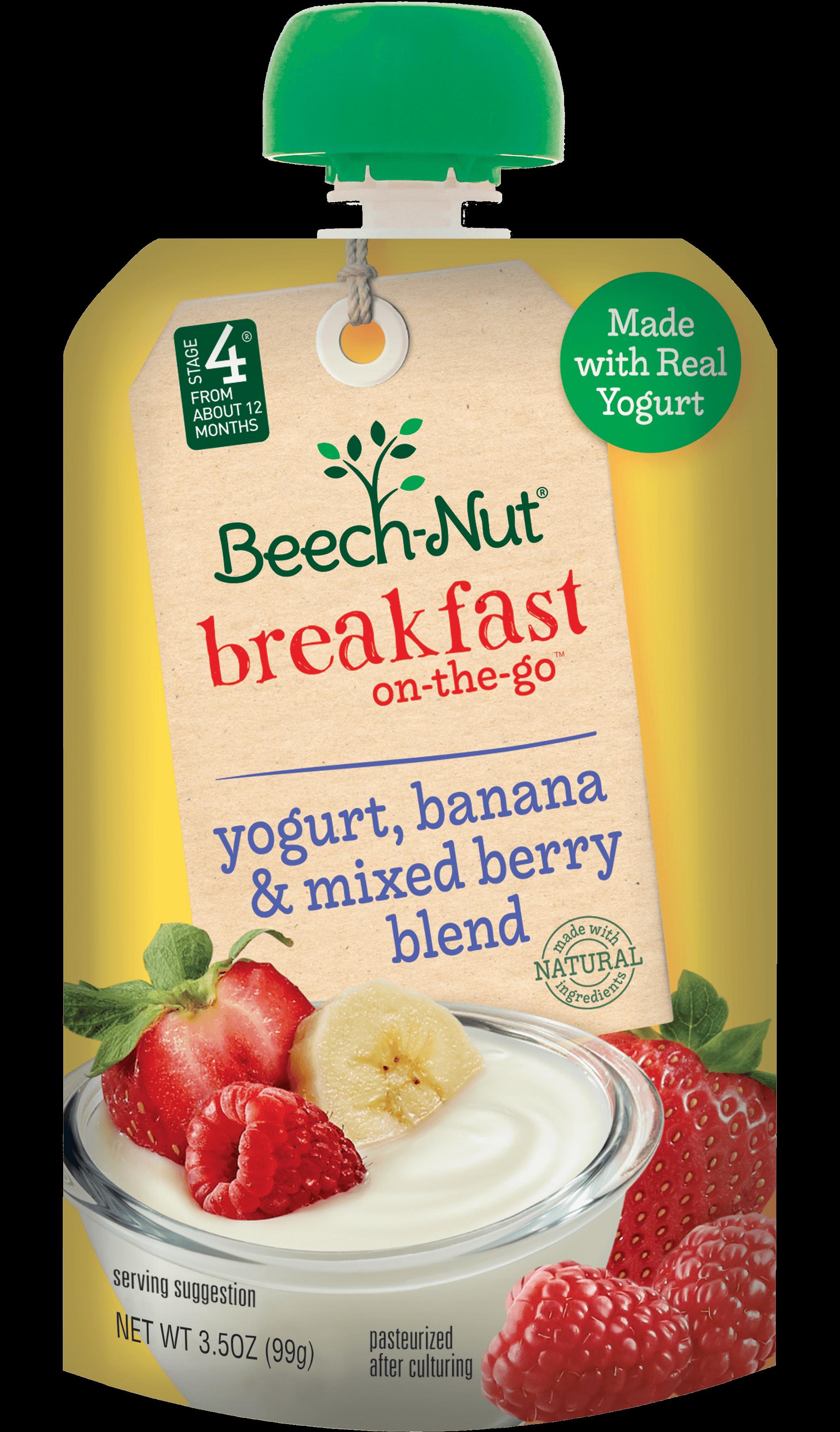 Beech Nut 174 Yogurt Banana And Mixed Berry Blend Breakfast