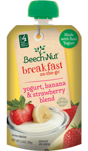 yogurt, banana & strawberry blend breakfast on-the-go pouch