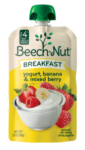 yogurt, banana & mixed berry breakfast on the go pouch