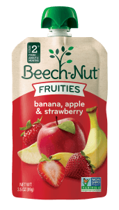 banana, apple & strawberry Fruities pouch