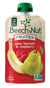 pear, banana & raspberry Fruities pouch