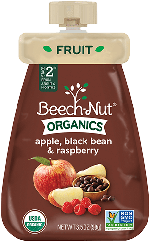 organics apple, black bean & raspberry pouch