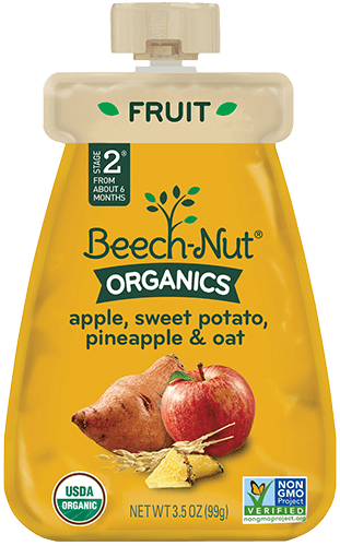 organics apple, sweet potato, pineapple & oat pouch