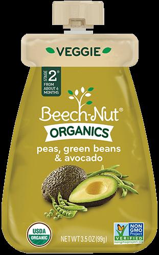 organics peas, green beans & avocado pouch