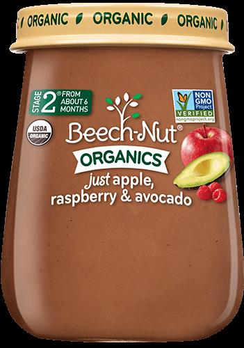 organics just apple, raspberry & avocado jar