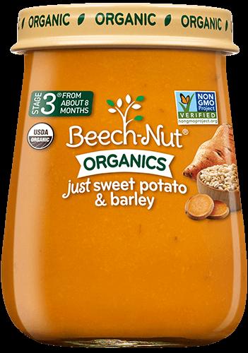 organics just sweet potato & barley jar