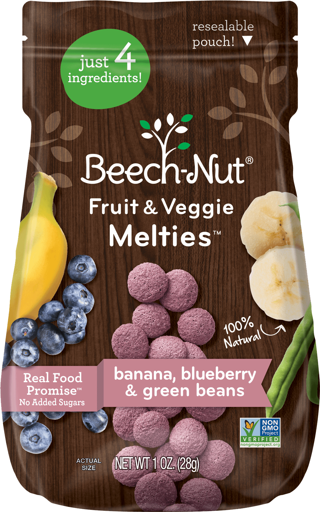 banana, blueberry & green beans fruit & veggie melties