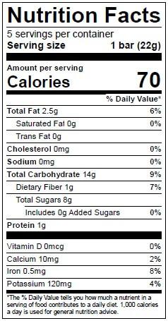Beech-Nut Naturals Strawberry Fruity Oat Bars Nutrition