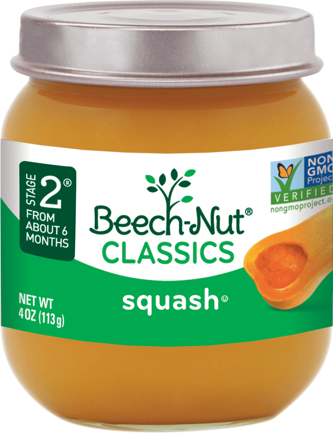 Beech Nut 174 Classics Squash Stage 2 Baby Food Jars