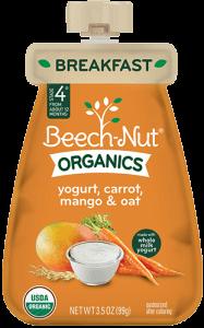 Beech-Nut Organics Yogurt, Carrot, Mango & Oat Pouch