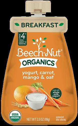 organics yogurt, carrot, mango & oat pouch