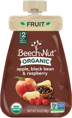 organic apple, black bean & raspberry pouch
