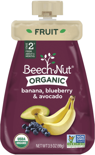 organic banana, blueberry & avocado pouch