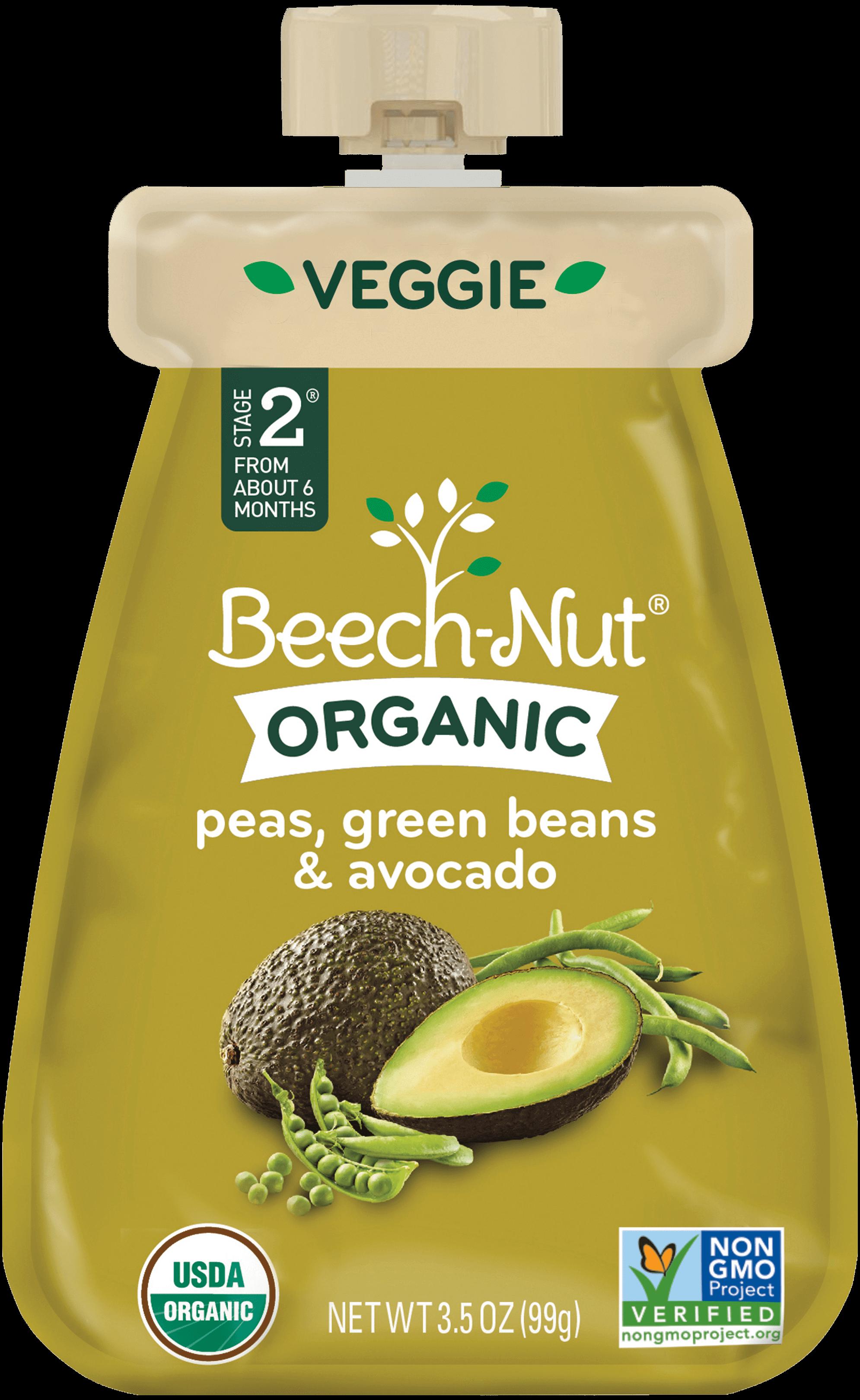 organic peas, green beans & avocado-organic baby food pouches