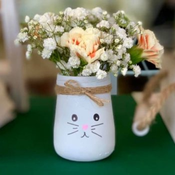 Glass Jar Bunny Vase DIY