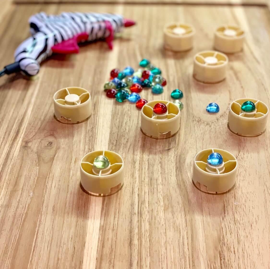 Glue Jewels onto Caps
