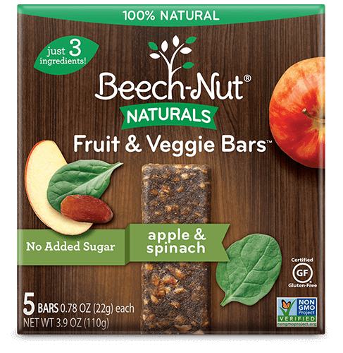 naturals apple & spinach fruit & veggie bars
