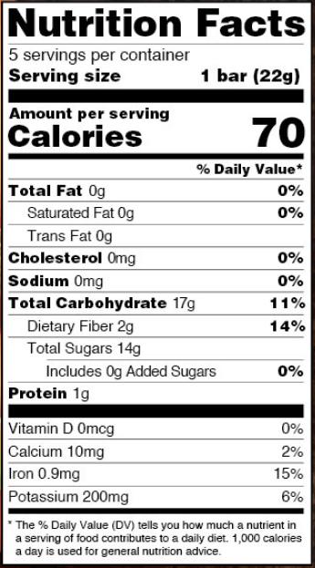 Beech-Nut Naturals Banana & Pumpkin Fruit & Veggie Bars Nutrition Label