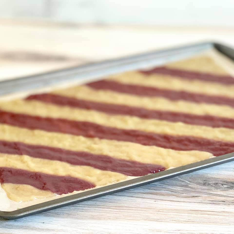 Spread onto a cookie sheet