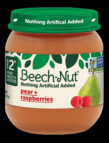 Beech-Nut® pear + raspberries jar