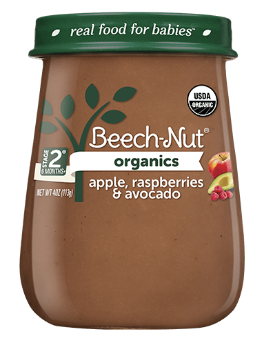 Organics apple, raspberries & avocado jar