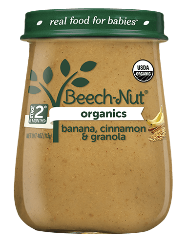Organics banana, cinnamon & granola jar