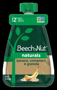 Naturals banana, cinnamon & granola pouch
